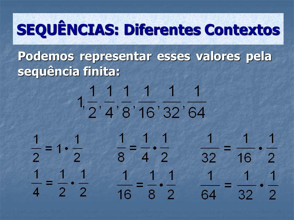 Podemos representar esses valores pela sequência finita: SEQUÊNCIAS: Diferentes Contextos