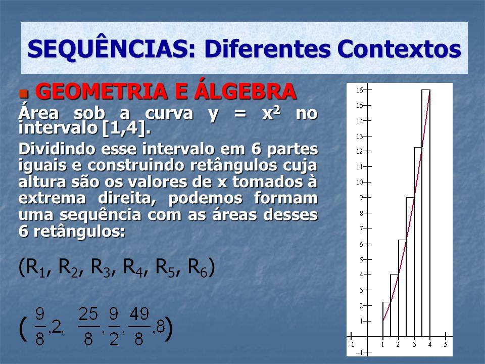 GEOMETRIA E ÁLGEBRA GEOMETRIA E ÁLGEBRA Área sob a curva y = x 2 no intervalo [1,4]. Dividindo esse intervalo em 6 partes iguais e construindo retângu