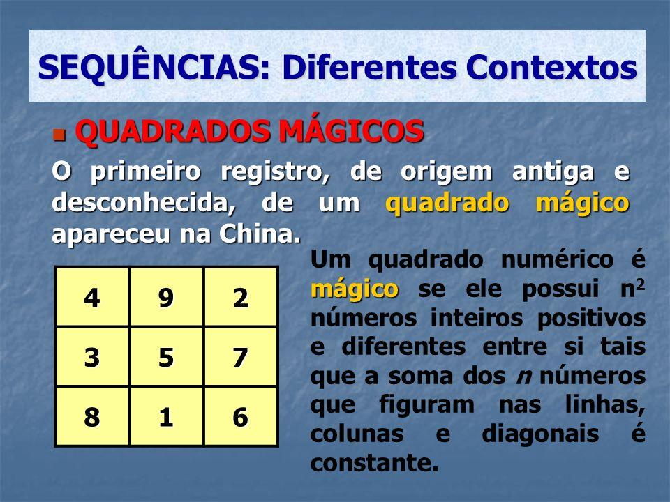 QUADRADOS MÁGICOS QUADRADOS MÁGICOS O primeiro registro, de origem antiga e desconhecida, de um quadrado mágico apareceu na China. 492 357 816 SEQUÊNC