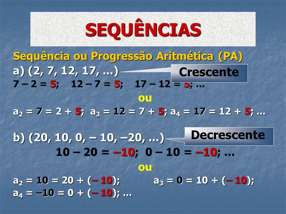 PA é toda sequência de números na qual: CONSTANTE I.