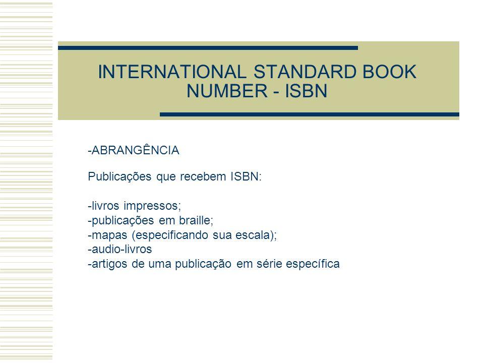 INTERNATIONAL STANDARD BOOK NUMBER - ISBN -ABRANGÊNCIA Publicações que recebem ISBN: -livros impressos; -publicações em braille; -mapas (especificando