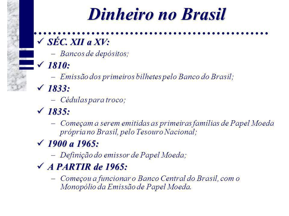 Dinheiro no Brasil SÉC. XII a XV: SÉC. XII a XV: –Bancos de depósitos; 1810: 1810: –Emissão dos primeiros bilhetes pelo Banco do Brasil; 1833: 1833: –
