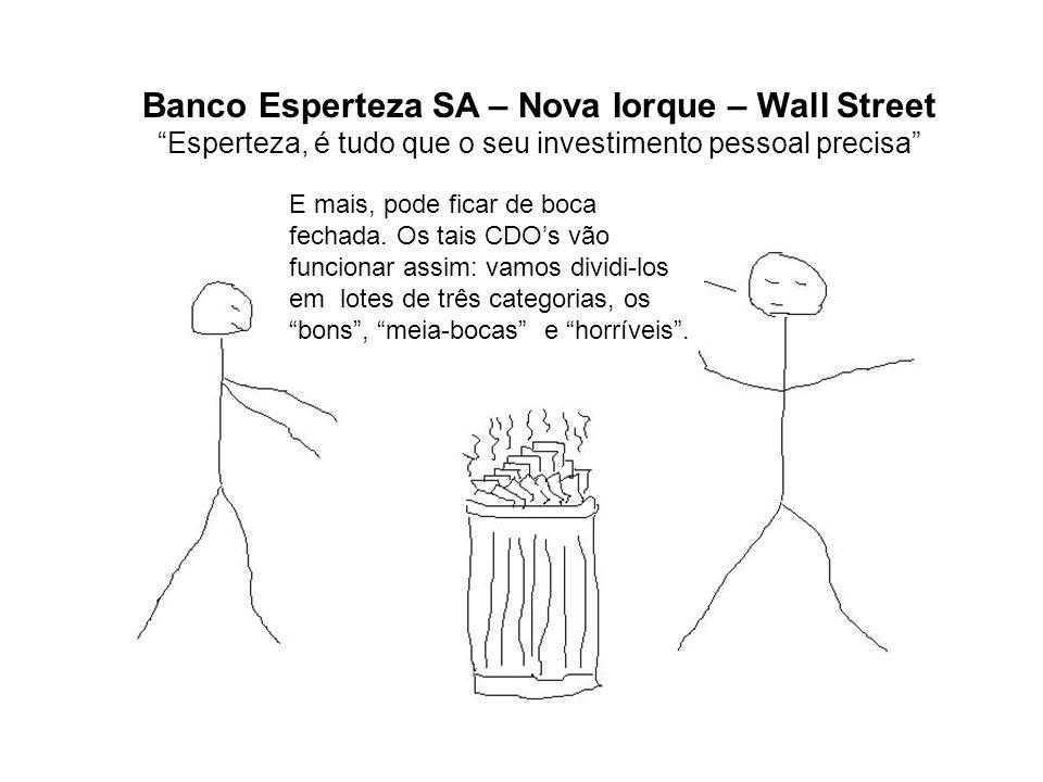 Banco Esperteza SA – Nova Iorque – Wall Street Esperteza, é tudo que o seu investimento pessoal precisa E mais, pode ficar de boca fechada. Os tais CD