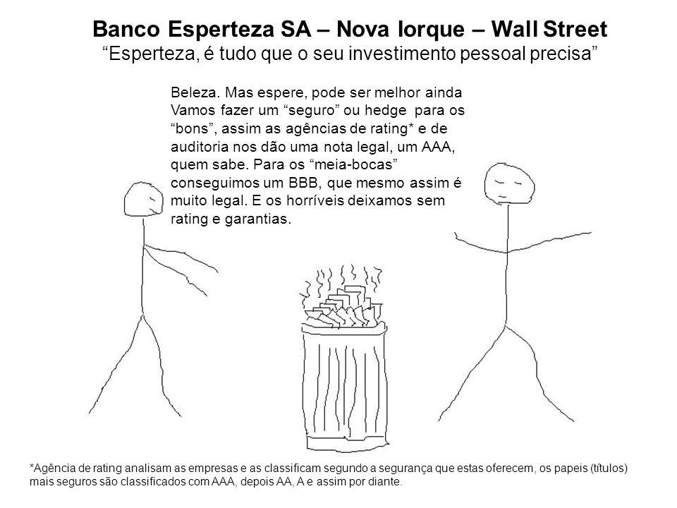 Banco Esperteza SA – Nova Iorque – Wall Street Esperteza, é tudo que o seu investimento pessoal precisa Beleza. Mas espere, pode ser melhor ainda Vamo
