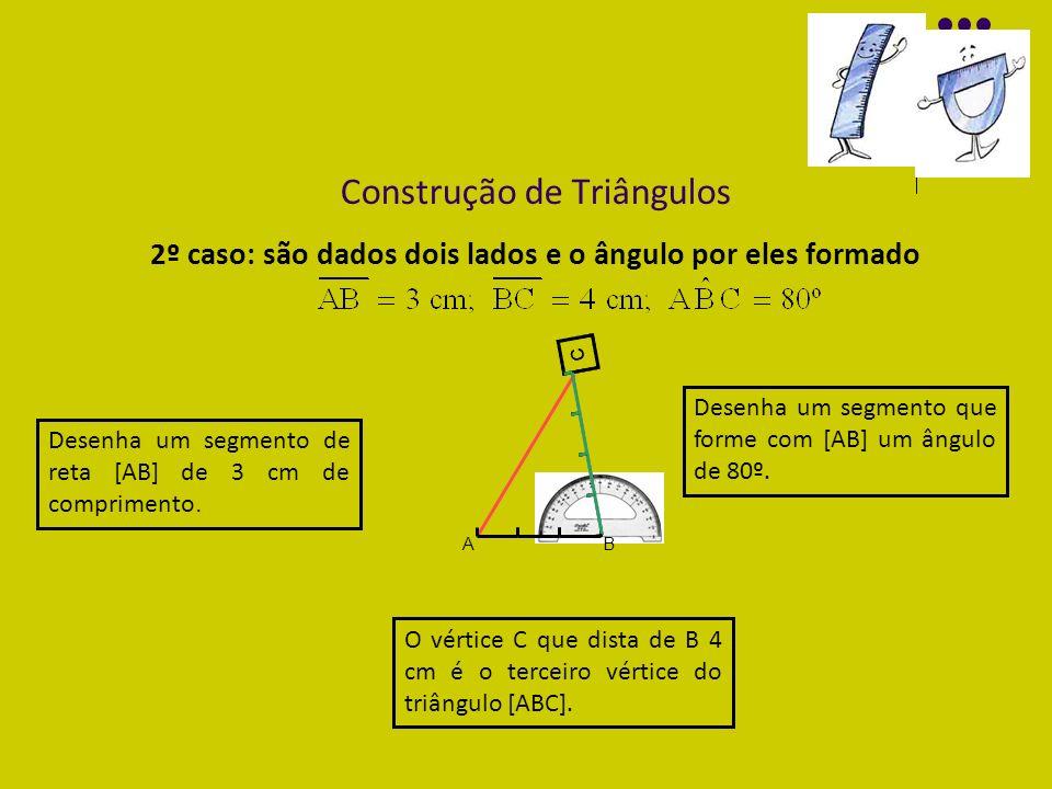 Construção de Triângulos 2º caso: são dados dois lados e o ângulo por eles formado Desenha um segmento de reta [AB] de 3 cm de comprimento. Desenha um