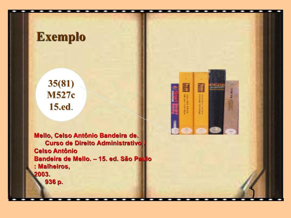 Exemplo 35(81)M527c 15.ed. Mello, Celso Antônio Bandeira de. Curso de Direito Administrativo / Celso Antônio Bandeira de Mello. – 15. ed. São Paulo :