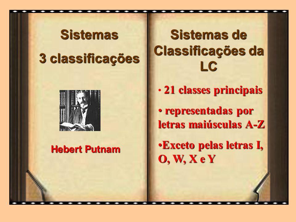 Sistemas 3 classificações Hebert Putnam Sistemas de Classificações da LC 21 classes principais representadas por letras maiúsculas A-Z representadas p