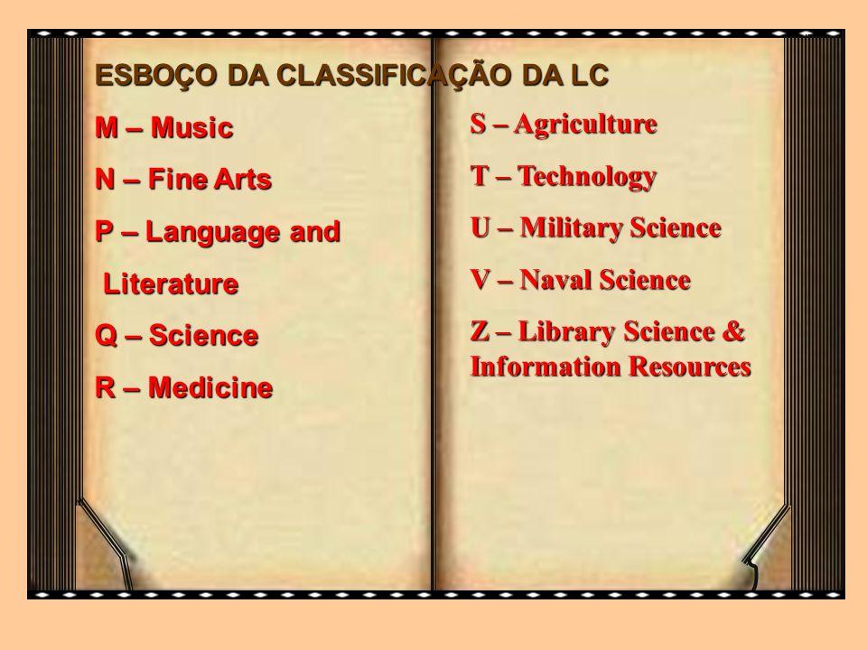 ESBOÇO DA CLASSIFICAÇÃO DA LC M – Music N – Fine Arts P – Language and Literature Literature Q – Science R – Medicine S – Agriculture T – Technology U