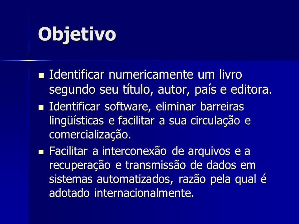 Objetivo Identificar numericamente um livro segundo seu título, autor, país e editora. Identificar numericamente um livro segundo seu título, autor, p