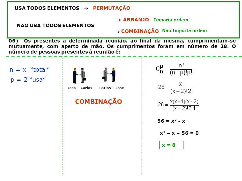 04) Determine o número de anagramas da palavra CARCARÁ (não considere o acento) USA TODOS ELEMENTOS PERMUTAÇÃO ARRANJO NÃO USA TODOS ELEMENTOS COMBINA