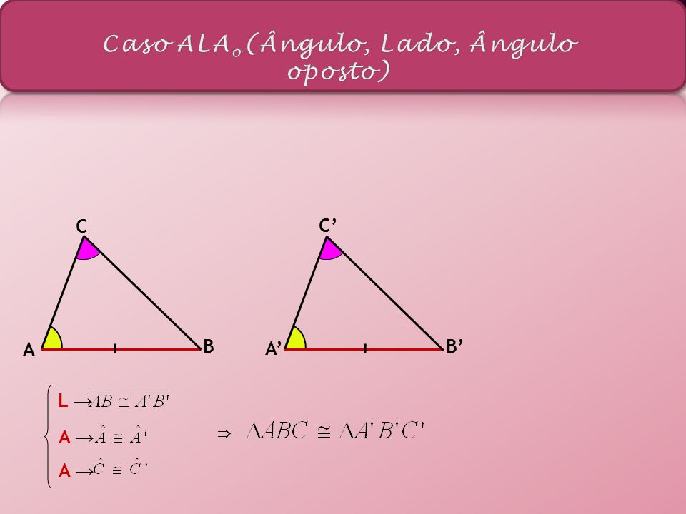 Se dois triângulos possuem ao três lados respectivamente congruentes, então os triângulos são congruentes.