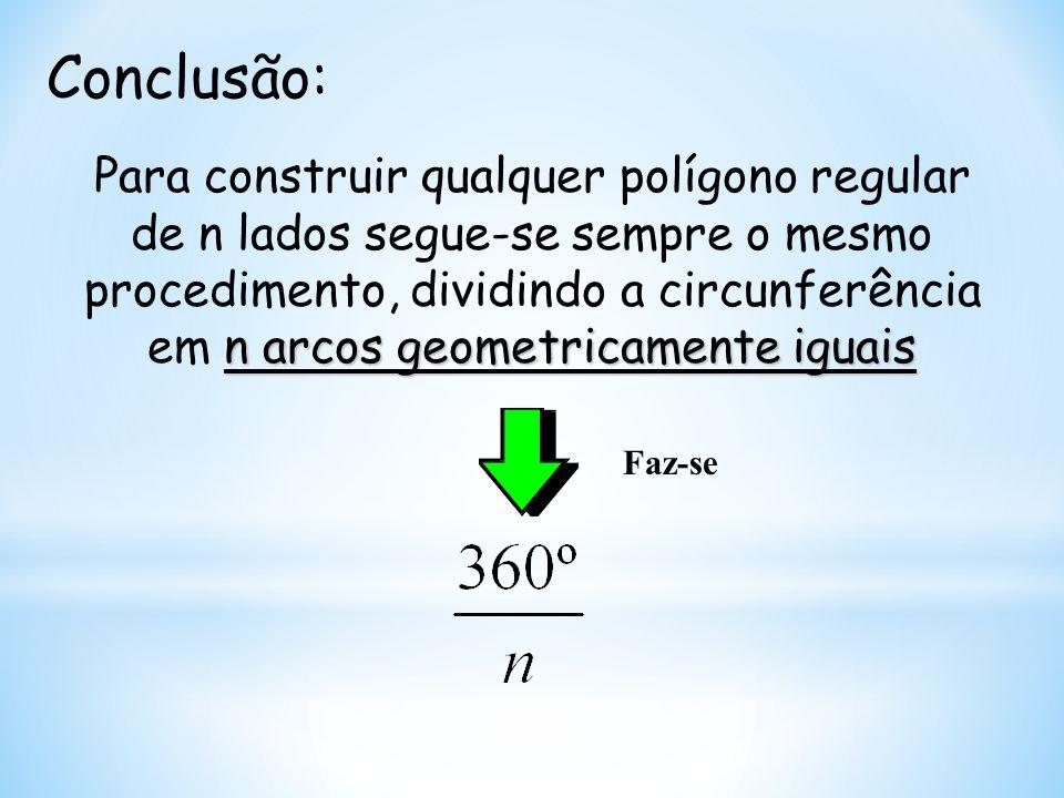 Conclusão: n arcos geometricamente iguais Para construir qualquer polígono regular de n lados segue-se sempre o mesmo procedimento, dividindo a circun