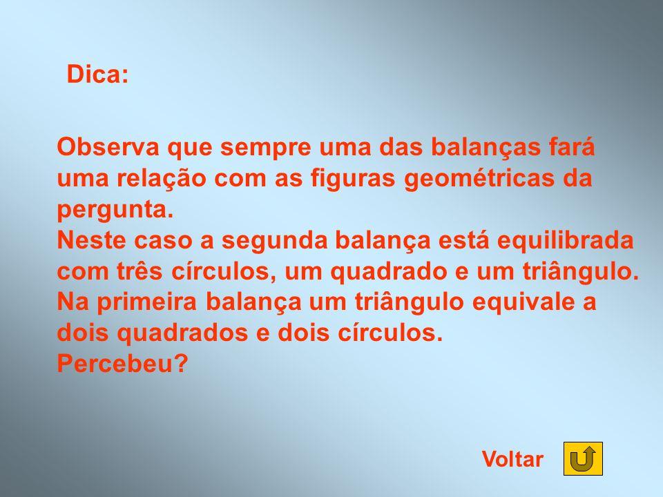 Dica: Observa que sempre uma das balanças fará uma relação com as figuras geométricas da pergunta. Neste caso a segunda balança está equilibrada com t