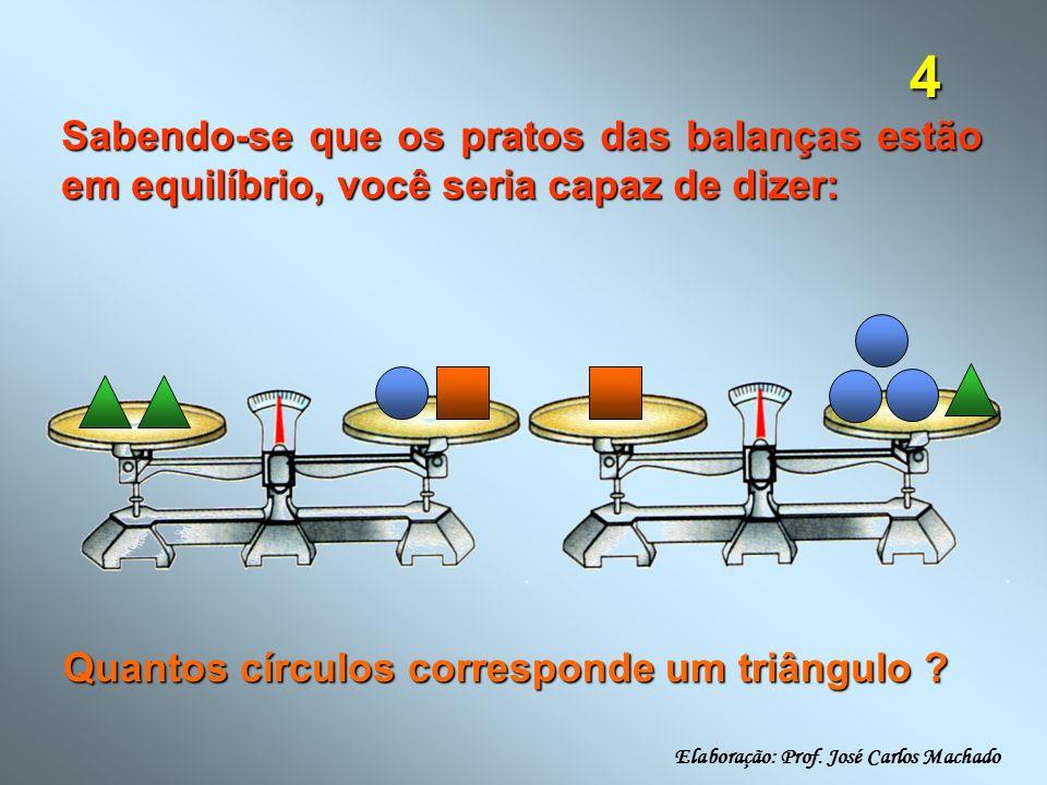 Sabendo-se que os pratos das balanças estão em equilíbrio, você seria capaz de dizer: Quantos círculos corresponde um triângulo .