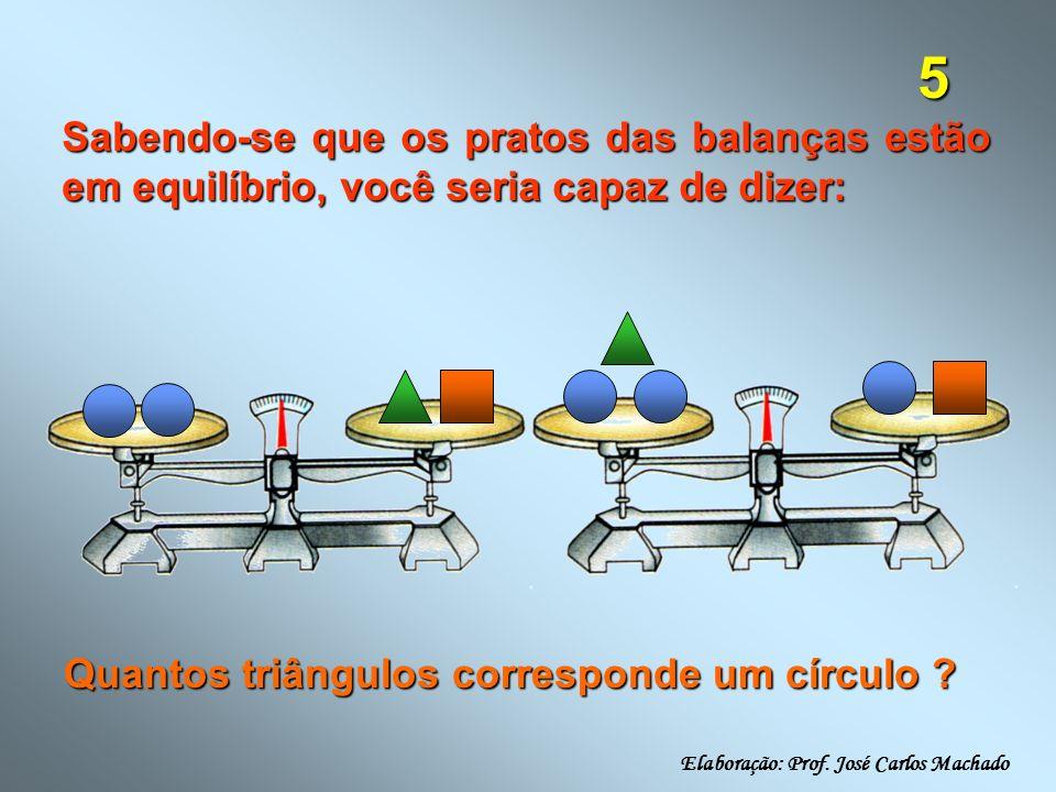 26 Sabendo-se que os pratos das balanças estão em equilíbrio, você seria capaz de dizer: Quantos triângulos correspondem a dois quadrados .
