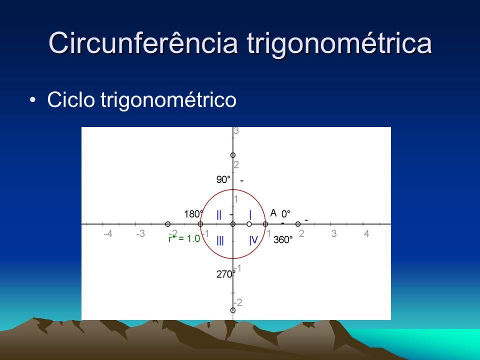 Sistema de coordenas ortogonais; Circunferência de centro na origem do sistema, de raio unitário r=1; Arcos de origem ponto A (1,0); Medidas algébricas positivas no sentido anti-horário, negativas sentido horário; Divisão dos quatros quadrantes sentido anti-horário