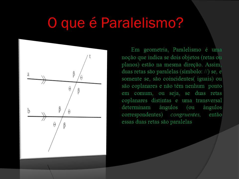 Teorema das retas paralelas Se duas retas coplanares e distintas r e s, e uma transversal t, determinam um par de ângulos alternos congruentes, então r é paralela a s.