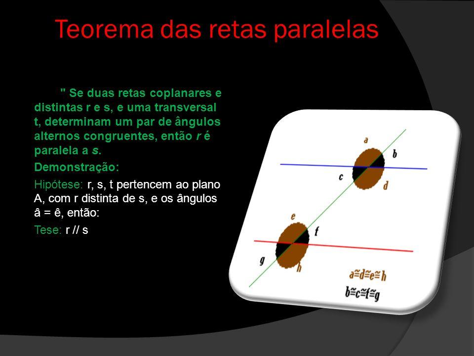 Ângulos formados por duas retas paralelas cortadas por uma transversal Consideremos as retas r e s traçadas em um mesmo plano, sem pontos comuns, essas retas são consideradas paralelas; uma outra reta t, que corta as paralelas considerada transversal ou secante, que é o nome dado à reta que cruza as retas paralelas.
