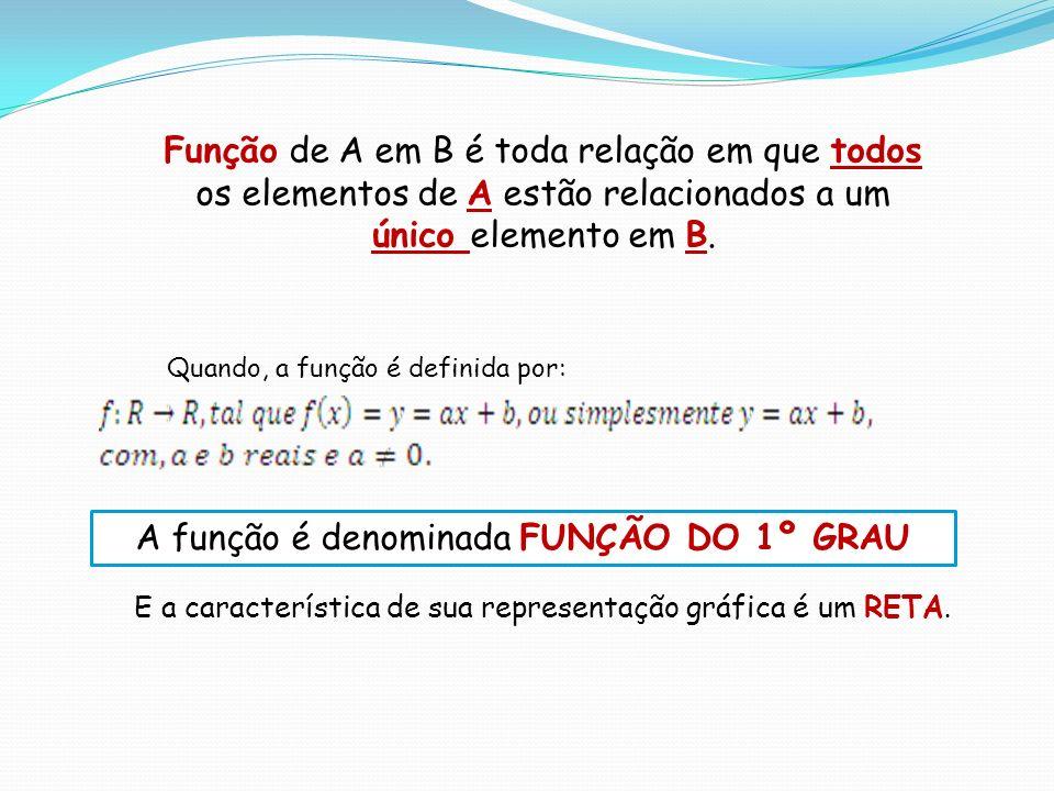Função de A em B é toda relação em que todos os elementos de A estão relacionados a um único elemento em B. Quando, a função é definida por: A função