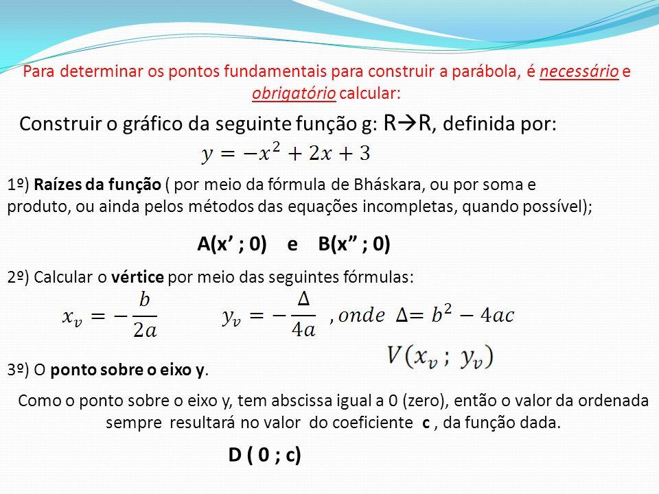 Para determinar os pontos fundamentais para construir a parábola, é necessário e obrigatório calcular: 1º) Raízes da função ( por meio da fórmula de B