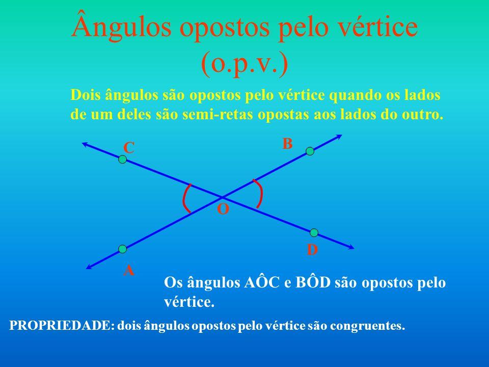 Ângulos opostos pelo vértice (o.p.v.) Dois ângulos são opostos pelo vértice quando os lados de um deles são semi-retas opostas aos lados do outro. O A