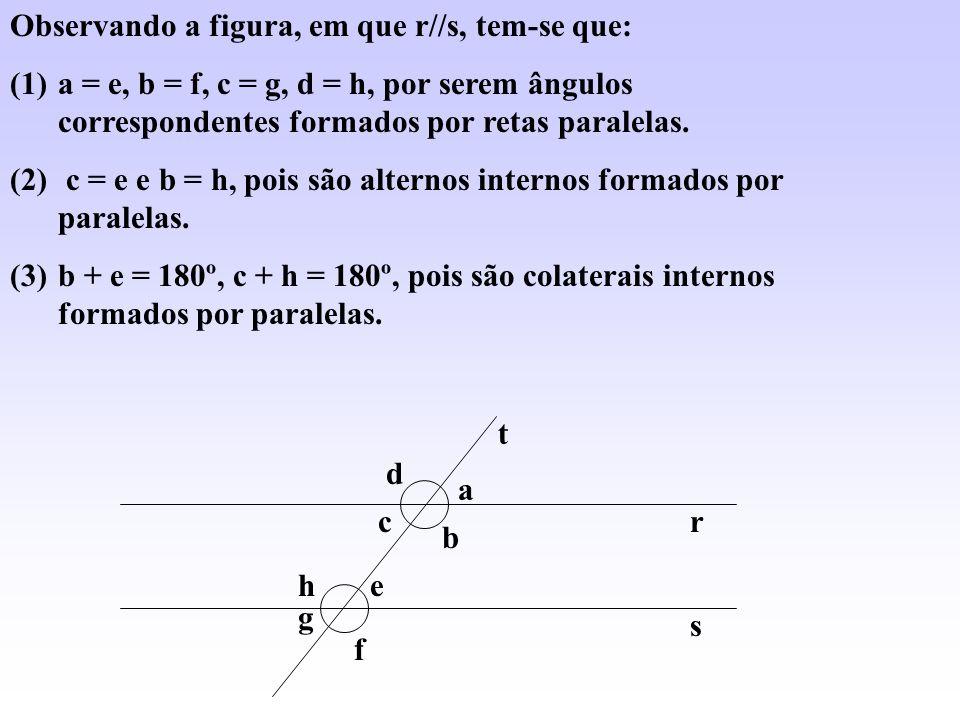 Observando a figura, em que r//s, tem-se que: (1)a = e, b = f, c = g, d = h, por serem ângulos correspondentes formados por retas paralelas. (2) c = e