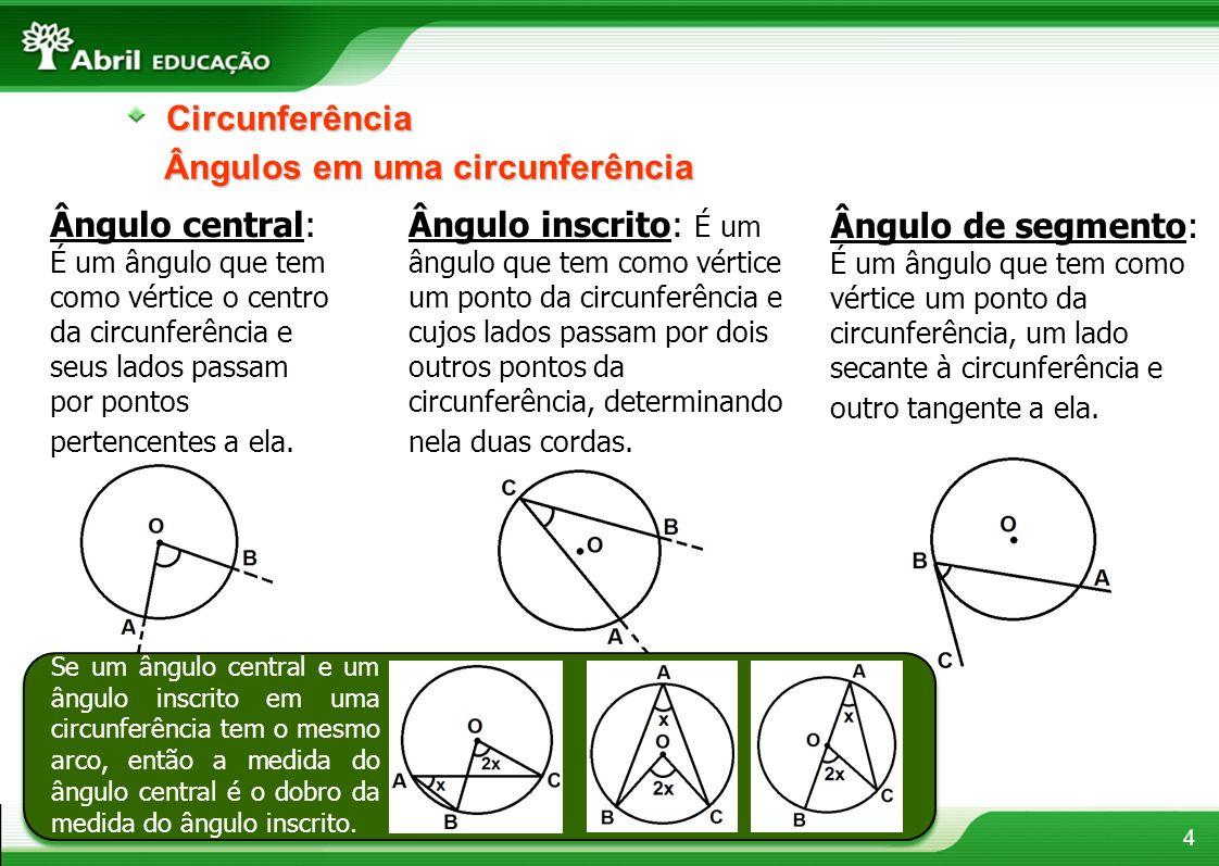 4Circunferência Ângulos em uma circunferência Ângulo central: É um ângulo que tem como vértice o centro da circunferência e seus lados passam por pont