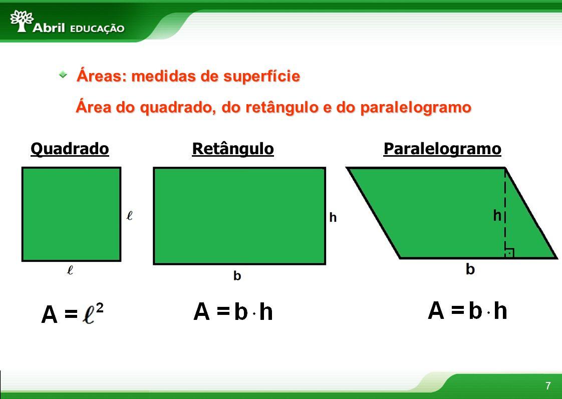 7 Áreas: medidas de superfície Área do quadrado, do retângulo e do paralelogramo QuadradoRetânguloParalelogramo