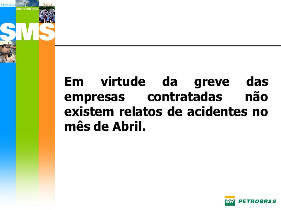 SegurançaSaúde Meio Ambiente Em virtude da greve das empresas contratadas não existem relatos de acidentes no mês de Abril.