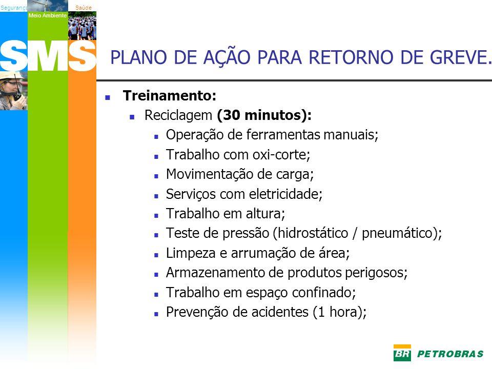 SegurançaSaúde Meio Ambiente Treinamento: Reciclagem (30 minutos): Operação de ferramentas manuais; Trabalho com oxi-corte; Movimentação de carga; Ser