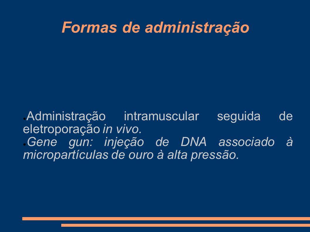 Formas de administração Administração intramuscular seguida de eletroporação in vivo. Gene gun: injeção de DNA associado à micropartículas de ouro à a