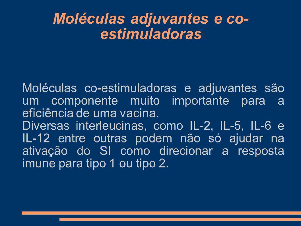 Moléculas adjuvantes e co- estimuladoras Moléculas co-estimuladoras e adjuvantes são um componente muito importante para a eficiência de uma vacina. D