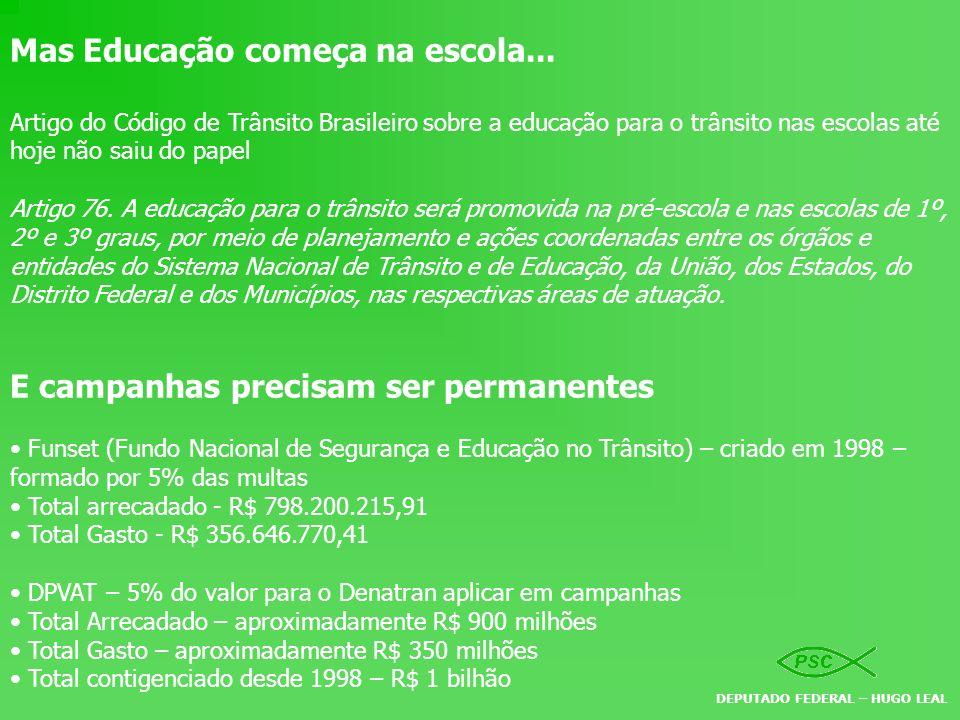 Mas Educação começa na escola... Artigo do Código de Trânsito Brasileiro sobre a educação para o trânsito nas escolas até hoje não saiu do papel Artig