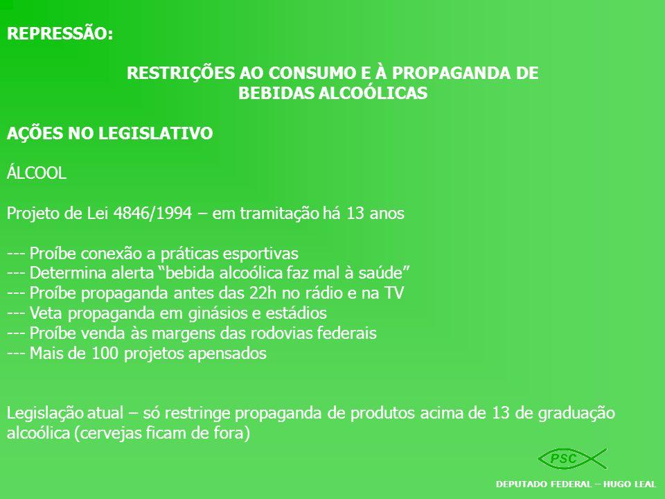 REPRESSÃO: RESTRIÇÕES AO CONSUMO E À PROPAGANDA DE BEBIDAS ALCOÓLICAS AÇÕES NO LEGISLATIVO ÁLCOOL Projeto de Lei 4846/1994 – em tramitação há 13 anos