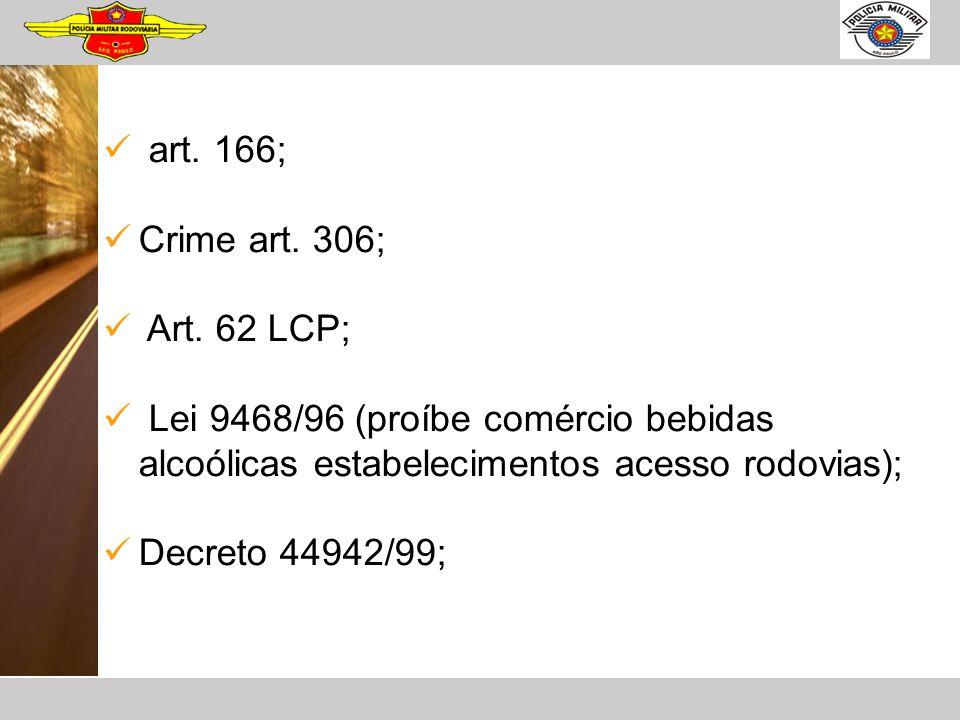 art. 166; Crime art. 306; Art. 62 LCP; Lei 9468/96 (proíbe comércio bebidas alcoólicas estabelecimentos acesso rodovias); Decreto 44942/99;
