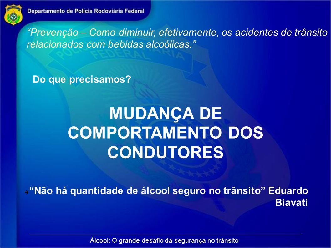 Prevenção – Como diminuir, efetivamente, os acidentes de trânsito relacionados com bebidas alcoólicas. Álcool: O grande desafio da segurança no trânsi