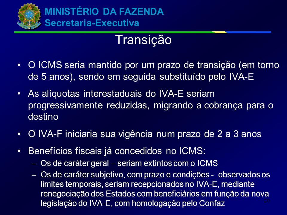 MINISTÉRIO DA FAZENDA Secretaria-Executiva 20 Transição O ICMS seria mantido por um prazo de transição (em torno de 5 anos), sendo em seguida substituído pelo IVA-E As alíquotas interestaduais do IVA-E seriam progressivamente reduzidas, migrando a cobrança para o destino O IVA-F iniciaria sua vigência num prazo de 2 a 3 anos Benefícios fiscais já concedidos no ICMS: –Os de caráter geral – seriam extintos com o ICMS –Os de caráter subjetivo, com prazo e condições - observados os limites temporais, seriam recepcionados no IVA-E, mediante renegociação dos Estados com beneficiários em função da nova legislação do IVA-E, com homologação pelo Confaz