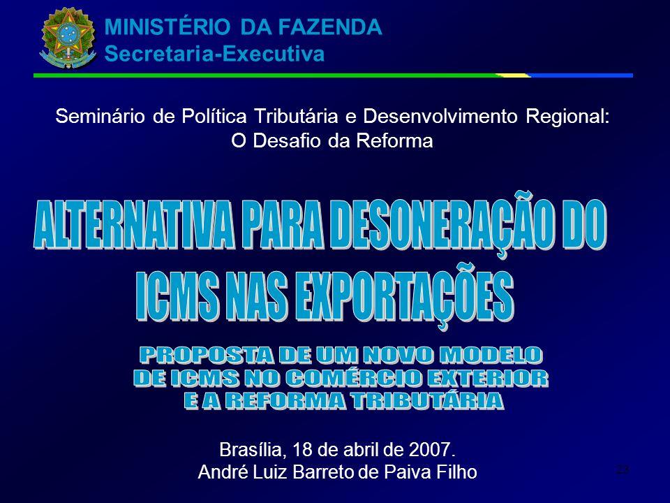 MINISTÉRIO DA FAZENDA Secretaria-Executiva 23 Seminário de Política Tributária e Desenvolvimento Regional: O Desafio da Reforma Brasília, 18 de abril de 2007.