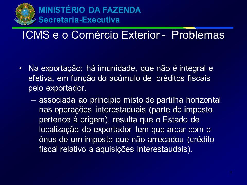 MINISTÉRIO DA FAZENDA Secretaria-Executiva 5 Na exportação: há imunidade, que não é integral e efetiva, em função do acúmulo de créditos fiscais pelo exportador.