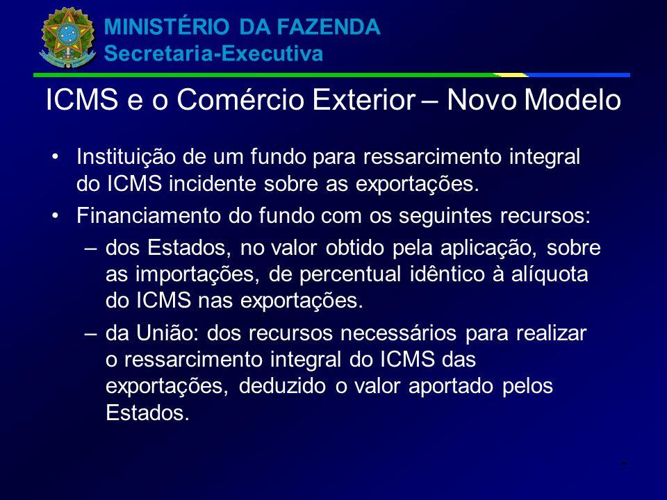 MINISTÉRIO DA FAZENDA Secretaria-Executiva 7 Instituição de um fundo para ressarcimento integral do ICMS incidente sobre as exportações.
