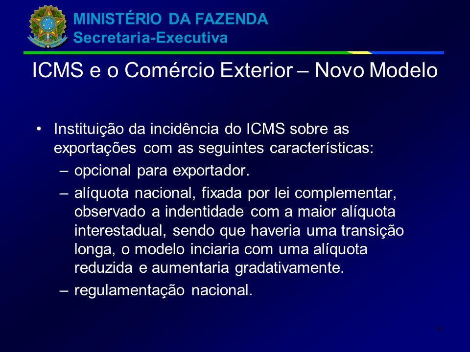 MINISTÉRIO DA FAZENDA Secretaria-Executiva 8 Instituição da incidência do ICMS sobre as exportações com as seguintes características: –opcional para exportador.