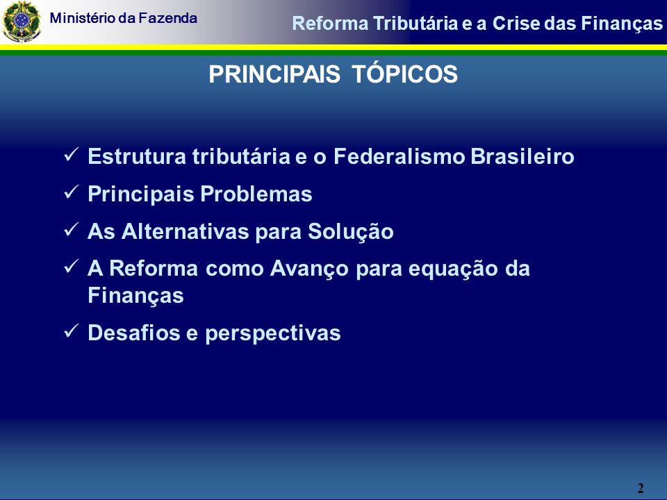 2 Ministério da Fazenda Reforma Tributária e a Crise das Finanças PRINCIPAIS TÓPICOS Estrutura tributária e o Federalismo Brasileiro Principais Problemas As Alternativas para Solução A Reforma como Avanço para equação da Finanças Desafios e perspectivas