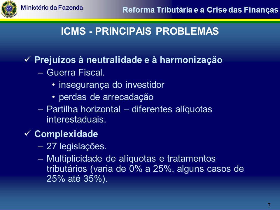 8 Ministério da Fazenda Reforma Tributária e a Crise das Finanças Deficiências no comércio exterior –Propicia vantagens para importação.