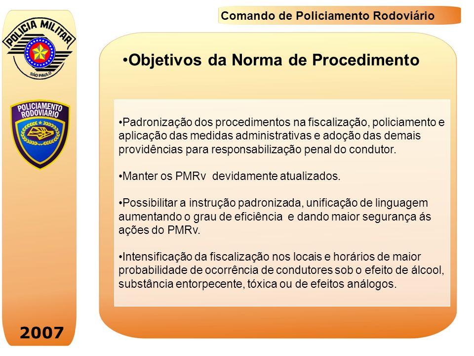 2007 Comando de Policiamento Rodoviário PROCEDIMENTOS: Orientações quanto a verificação da ingestão de álcool ou uso de substância tóxica, entorpecente ou de efeitos análogos: Quando da abordagem do condutor para fiscalização de rotina.