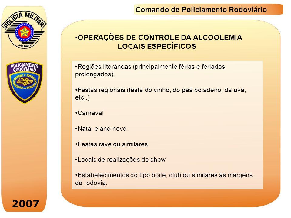 2007 Comando de Policiamento Rodoviário Regiões litorâneas (principalmente férias e feriados prolongados). Festas regionais (festa do vinho, do peã bo