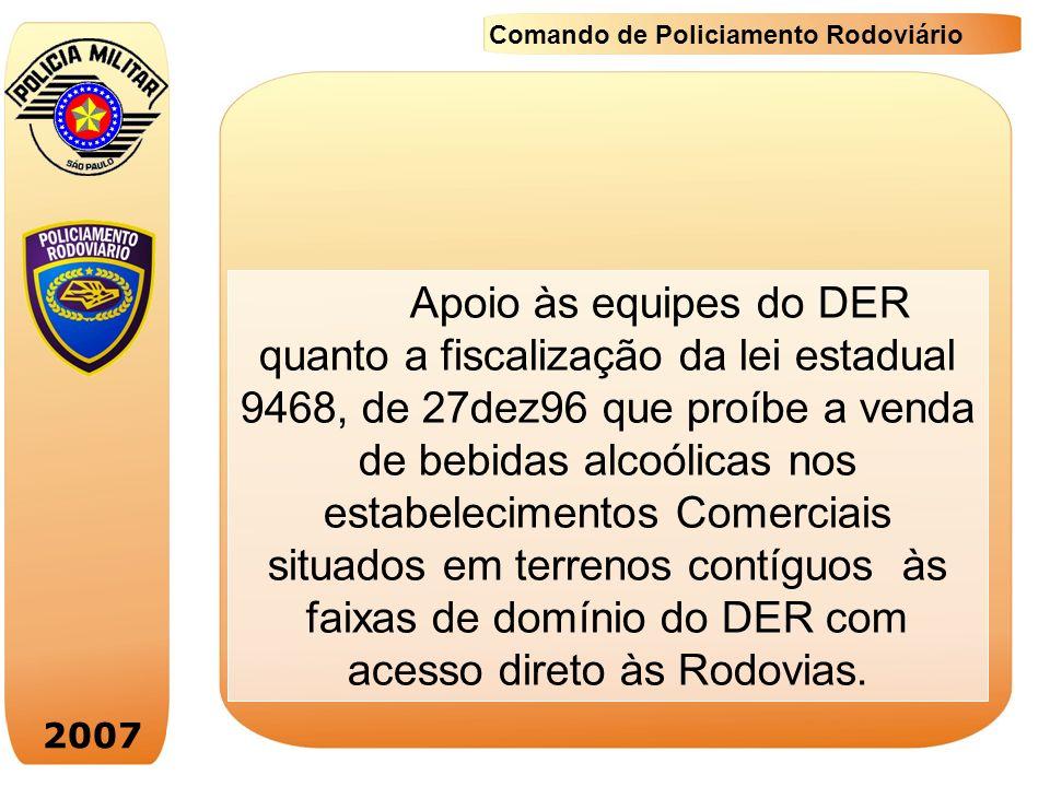 2007 Comando de Policiamento Rodoviário Apoio às equipes do DER quanto a fiscalização da lei estadual 9468, de 27dez96 que proíbe a venda de bebidas a