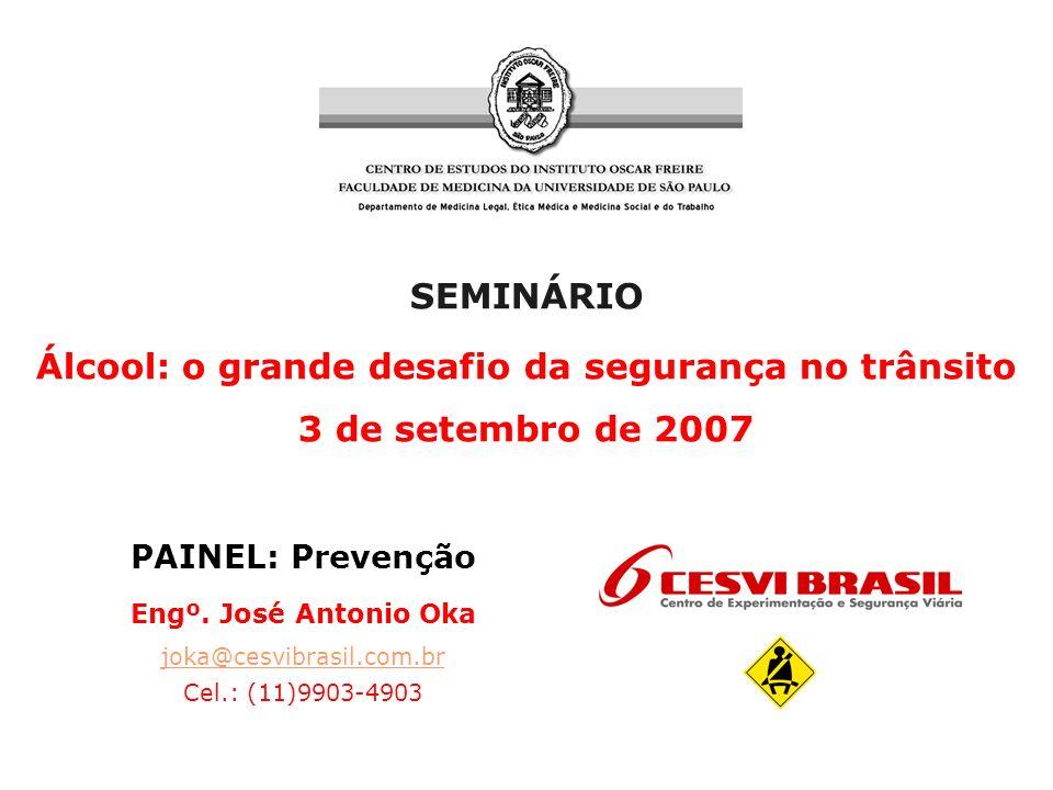 SEMINÁRIO Álcool: o grande desafio da segurança no trânsito 3 de setembro de 2007 PAINEL: Prevenção Engº.