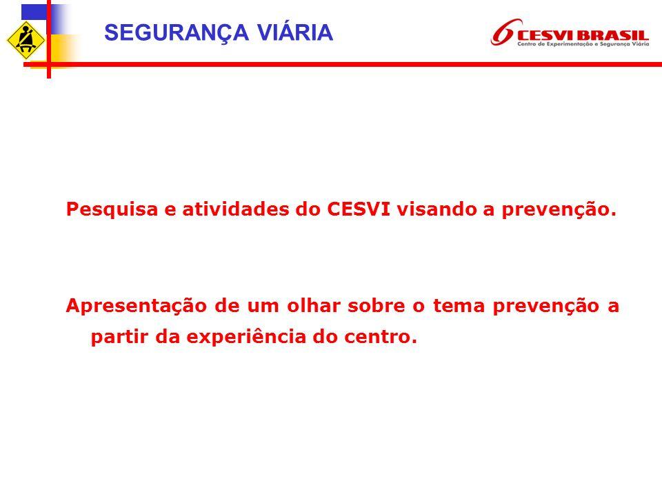 SEGURANÇA VIÁRIA Pesquisa e atividades do CESVI visando a prevenção.