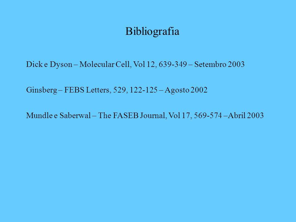 Bibliografia Dick e Dyson – Molecular Cell, Vol 12, 639-349 – Setembro 2003 Ginsberg – FEBS Letters, 529, 122-125 – Agosto 2002 Mundle e Saberwal – Th
