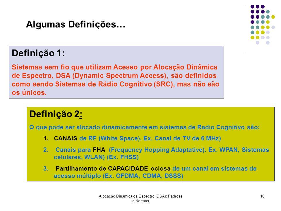 Alocação Dinâmica de Espectro (DSA): Padrões e Normas 10 Definição 2: O que pode ser alocado dinamicamente em sistemas de Radio Cognitivo são: 1.CANAI